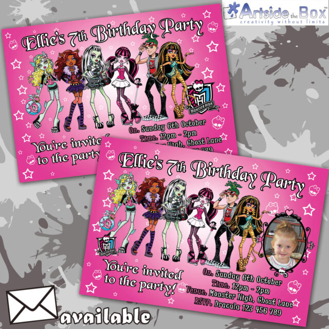 Monster High Invites | Personalised Children's Party Birthday Invitations