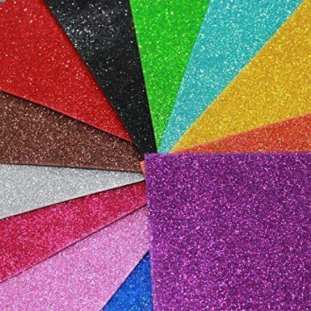 KRAFTZ® Glitter Eva Craft Foam Self Adhesive A4 Sheets in 10 Assorted Colours