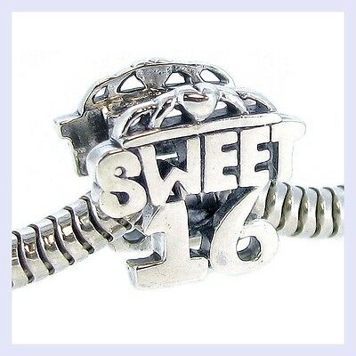 STR Silver Sweet 16 Sixteen Birthday Heart Love Bead for European Charm Bracelet