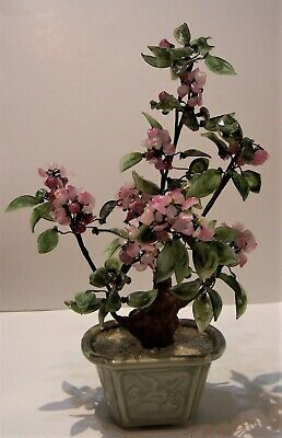 Chinese Carved Cherry Blossom Jade Agate Quartz Stone Flowers Tree Bonsai 15x9 Ebay