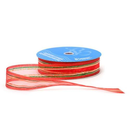 "50 yards 1.5/"" Wired Angel City Sheer Ribbon Red//Green//Gold Christmas Ribbon"