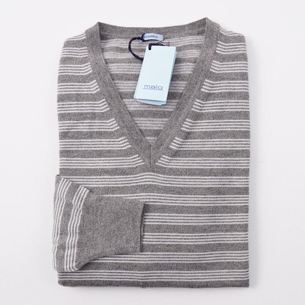 NWT 780 MALO Heather grau and Weiß Striped Cashmere Sweater M (Eu 50)