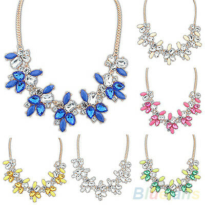Fashion Lady Bright Crystal Drop Resin Flower Statement Choker Bib Necklace Gift