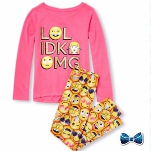 b9a326dd4f The Childrens Place Girls Size 7-8 Long Sleeve Glitter OMG Pajama ...