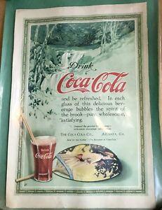 Antique Vtg 1916 Original Coca Cola Advertising Ad Print