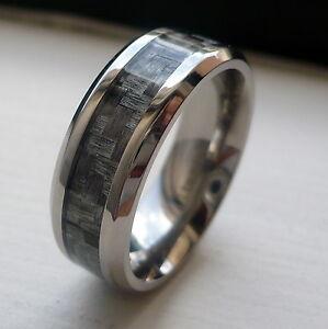 8MM MENS TITANIUM GREY CARBON FIBER WEDDING BAND RING SIZE 7 13