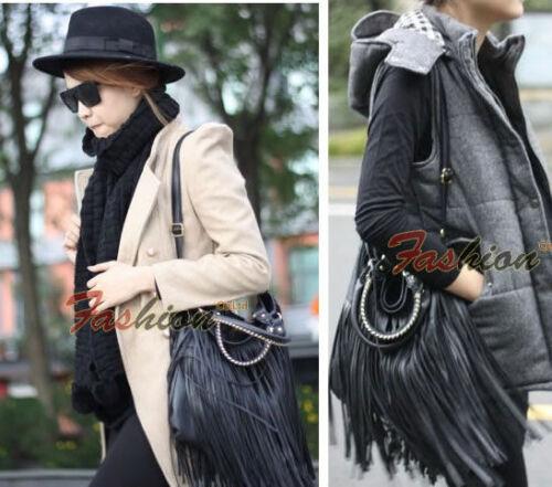 Ladies Stylish Punk Double Fringe Tassel Leather Handbag Shoulder Messenger Bag