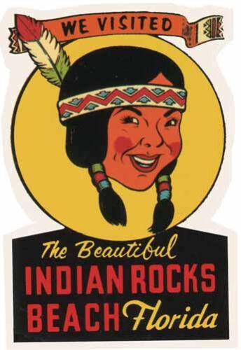 Indian Rocks Beach  Florida    Vintage 1950/'s Style  Travel Decal Sticker
