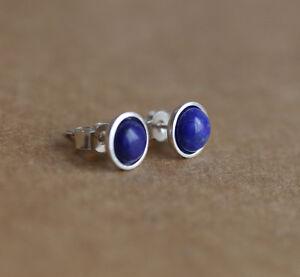 925-Sterling-silver-stud-earrings-with-natural-Lapis-Lazuli-gemstones