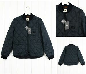 b91ecb5904e NEW LEE QUILTED BOMBER JACKET FADED BLACK GREEN GREY 50% DUCK 101 S ...
