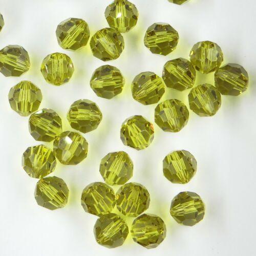 5000 8 L *** 6 perles cristal RONDES de Swarovski 8mm LIME
