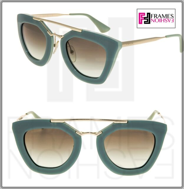 14b161e7cfd4 PRADA CINEMA Sunglasses 09Q TKQ-4K1 Green Gold Gradient Aviator Women PR09QS