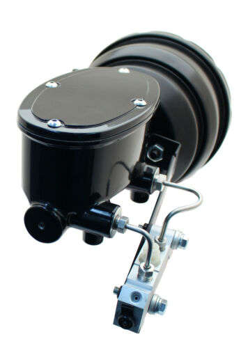 """1958-70 GM Black Out Series 8/""""Dual Pwr Booster /& Black Tandem Oval Master Kit"""