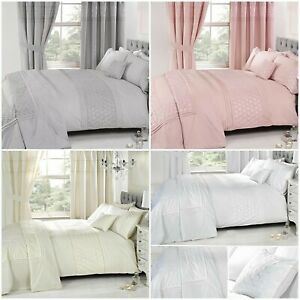 Details zu Everdean Embroidered Quilt Cover + Matching Curtains + Bedspread  Luxury Bedding