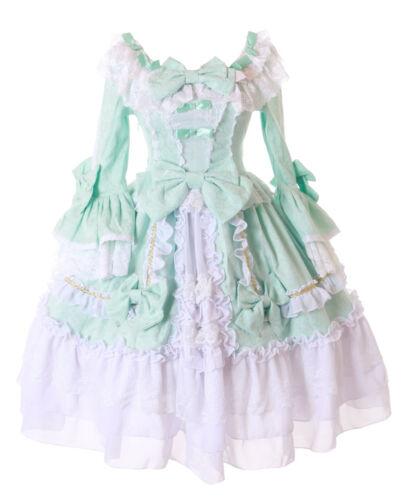 Lolita Pregiato Volant Vestito 676 Da Barocco Verde Jl Bianco Gothic Costume RqIzxg5