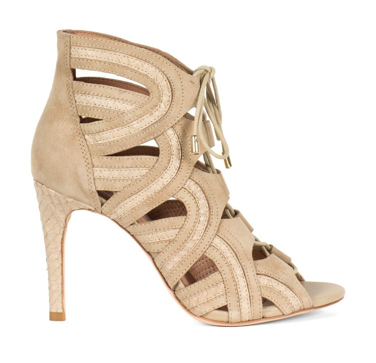 New Joie Dean Caged Gladiator Sandals Heels, Nude Suede Snakeskin, Snakeskin, Snakeskin, sz 8 (38 EUR) 15bbf2