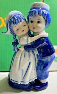 Porcelain-Delft Blauw-Hugging Boy & Girl-Hand Decorated in Holland-1960-Vintage