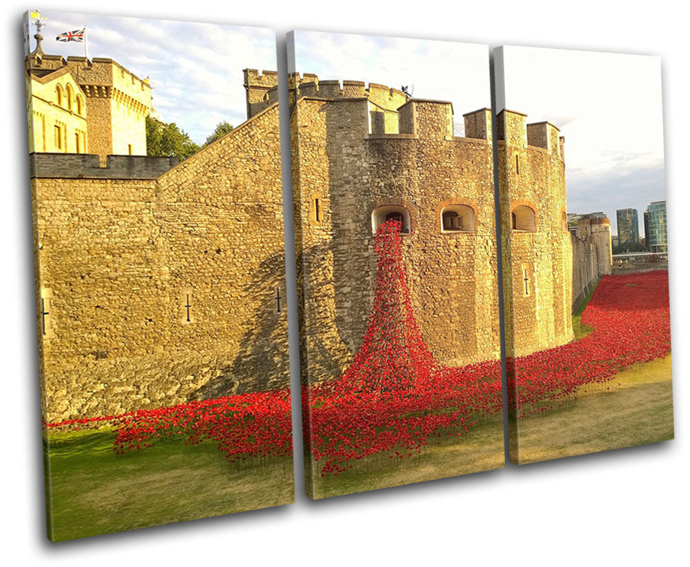Tower of London London London Poppies City TREBLE TELA parete arte foto stampa 99811f