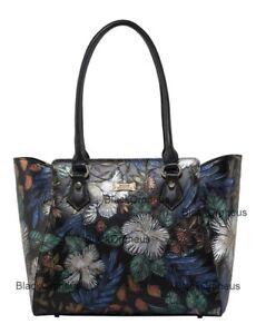 serenata de cuero negro Illusion de genuino bolso Bolso mano Blue floral vqSwxx6