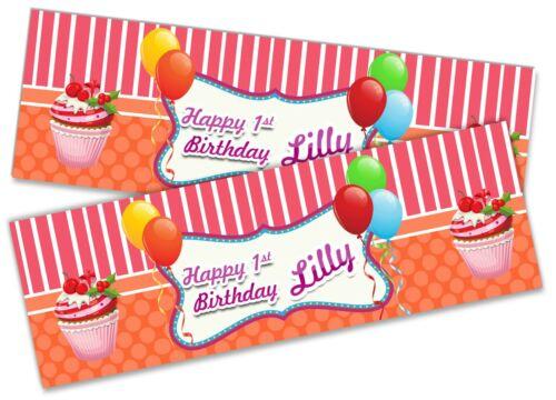 X2 Personnalisé Anniversaire Bannière Cupcake Enfants Fête Décoration Poster 1