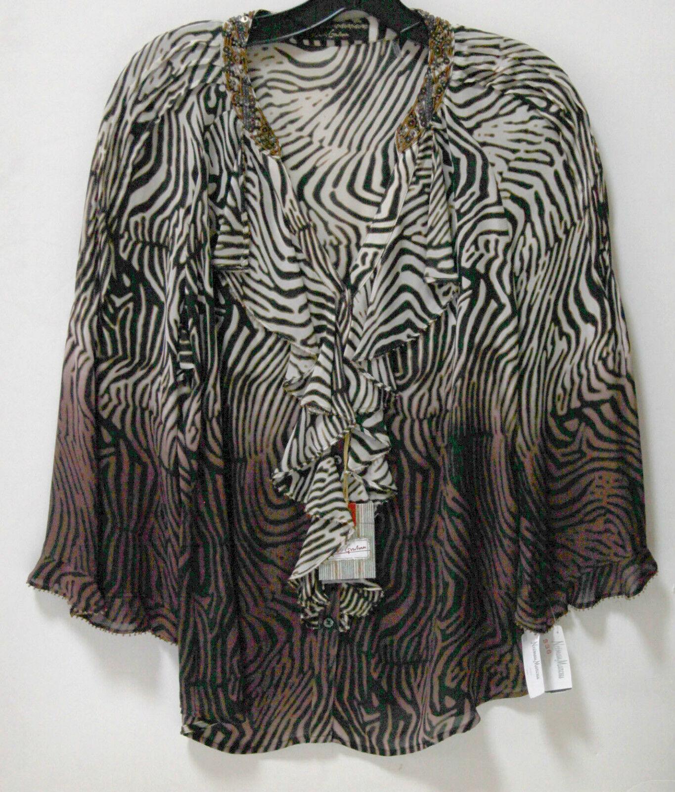 NWT Robert Graham Neiman Marcus Ladies M Zebra Print Ruffle Blouse FS