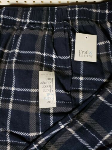 Men/'s Croft /& Barrow Pajama Lounge Pants NEW blue Plaid Micro Fleece Size 3XB