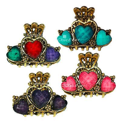 4 Mini Capelli Gancio Cuore Metallo Parentesi Per Capelli Fermagli Colorato Rosa Blu Lilla 4550b-