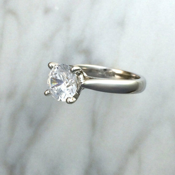 2.00 Carat Round Cut Solitaire Diamond Engagement Ring 14K White gold Size 5 6 7