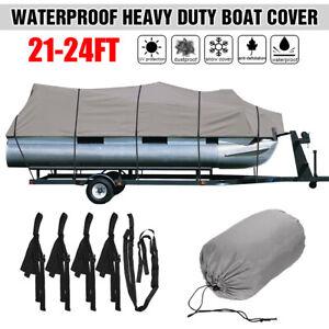 21-24Ft-Trailerable-Pontoon-Fishing-Boat-Cover-Heavy-Duty-210D-Waterproof