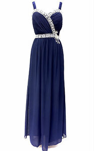 Blue Maxi Dress Sequin Embellished Bridesmaid Party Prom Draped Gown Size 8-24