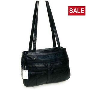 Ladies-Women-039-s-Real-Leather-Handbag-Long-Shoulder-Strap-Black-Travel-Work-Bag