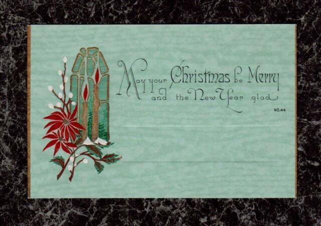 Turquoise Marbled Gilded & Embossed 1920s Art Deco Christmas Card Near Mint