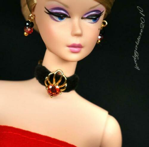 """Handmade zircon jewelry set necklace earrings fits 11.5/"""" doll 865A"""