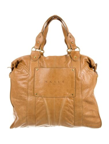 MAYLE LARGE OVERNIGHT TRAVEL LEATHER CARRY ON TAN