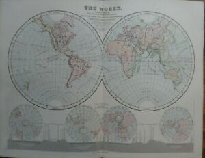 Old-antique-map-of-the-world-19th-century-Victorian-print-book-plate