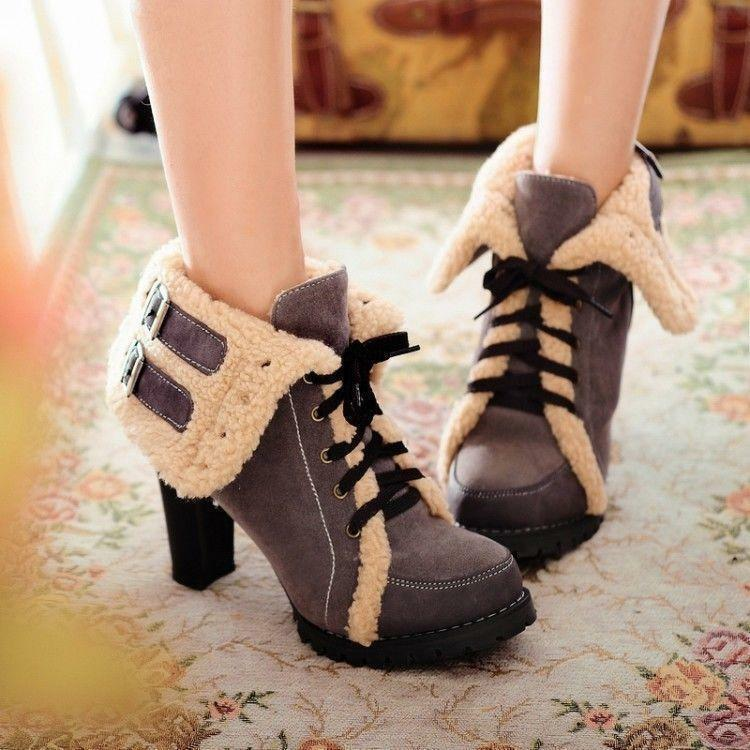 Womens Fashion Lace Up Fur Winter Warm High Heel Fashion New Ankle Boots shoes