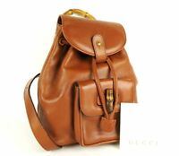 100%Authentic GUCCI Bamboo Leather Backpack Brown Made In Italy