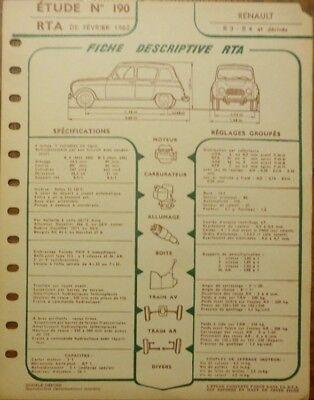 fiche technique automobile rta renault r3 r4 4l et d riv s. Black Bedroom Furniture Sets. Home Design Ideas