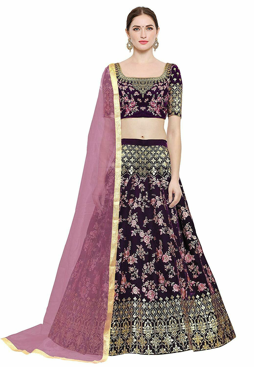 Indian ethnic wear Women's Embroidered Taffeta Silk Lehenga Choli  purple
