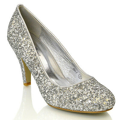 WOMENS LOW HEEL PARTY LADIES BRIDAL EVENING PROM GLITTER COURT SHOES SIZE 3-8