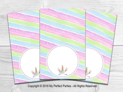 etiquetas de alimentos Unicornio Fiesta De Cumpleaños tarjetas de la tienda. Arco Iris