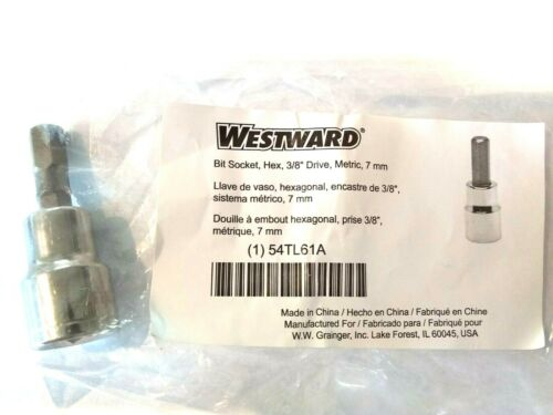 "Socket bit hex 7 mm L-1-3//4/"" metric 3//8 DR NEW"