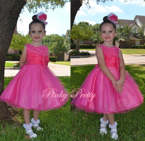 Hot Pink Pearls Formal Dress Wedding Flower Girl Bridesmaid Party Age 2-9y FG288