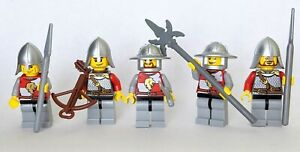 LEGO-Kingdoms-Lion-Knight-Minifigures-Lot-of-5-with-weapons
