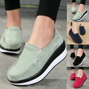 Women-039-s-Casual-Round-Toe-Slip-On-Shoes-Wedge-Platform-Heel-Party-Outdoor-Loafers
