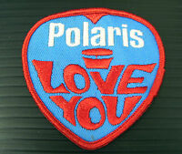 Vintage Embroidered Polaris I Love You W /red Trim Snowmobile Patch (nos)