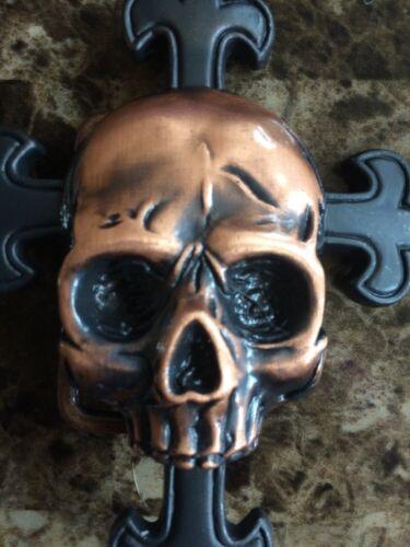 NEW Gothic Bronze Skull /& Brown Cross Metal Buckle