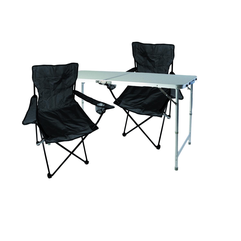 3-tlg. Schwarz Campingmöbel Set, Tisch mit Tragegriff und Stühle mit Tasche