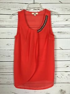 Ya-Los-Angeles-Boutique-Women-039-s-S-Small-Coral-Sleeveless-SILK-Summer-Tank-Top