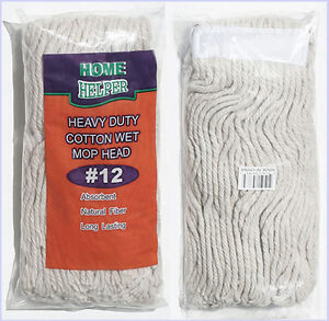 MOP HEAD — HEAVY DUTY COTTON — QUALITY SEWN BAND REPLACEMENT REFILL #12 MOPHEAD